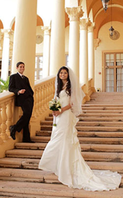 Emma & Mark at The Biltmore Hotel -  Sweeping staircases, uplifting arches of the 1926 landmark.