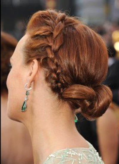 Berenice Bejo Hair - French braided Chignon