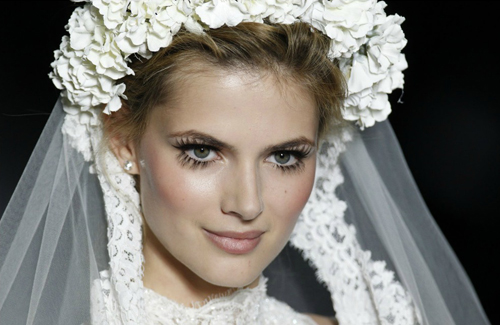 Princess brides love thick, feathery lashes and rosy cheeks.
